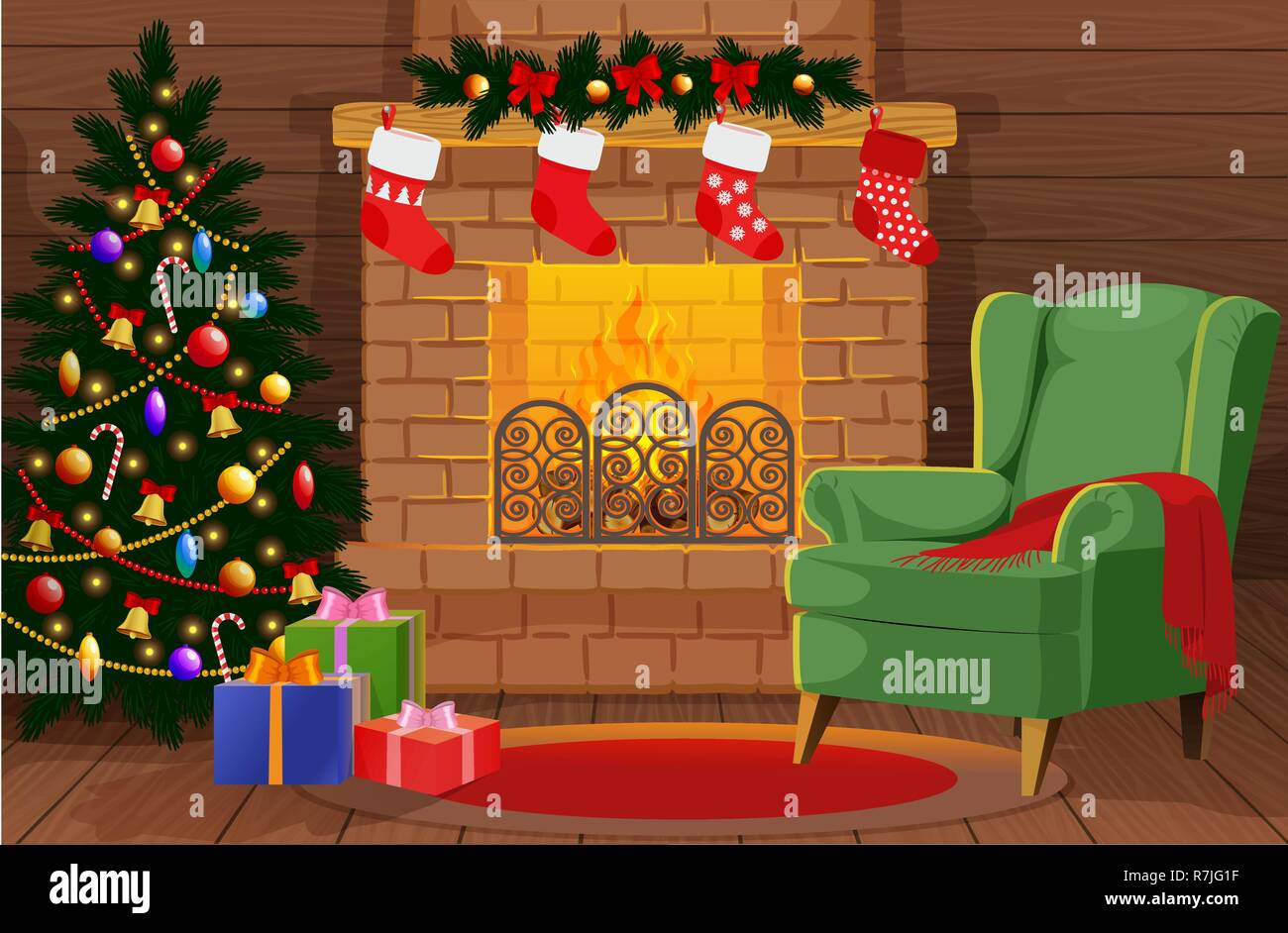Decorated Christmas room with xmas tree, gifts, fireplace, armchair - Stock Vector