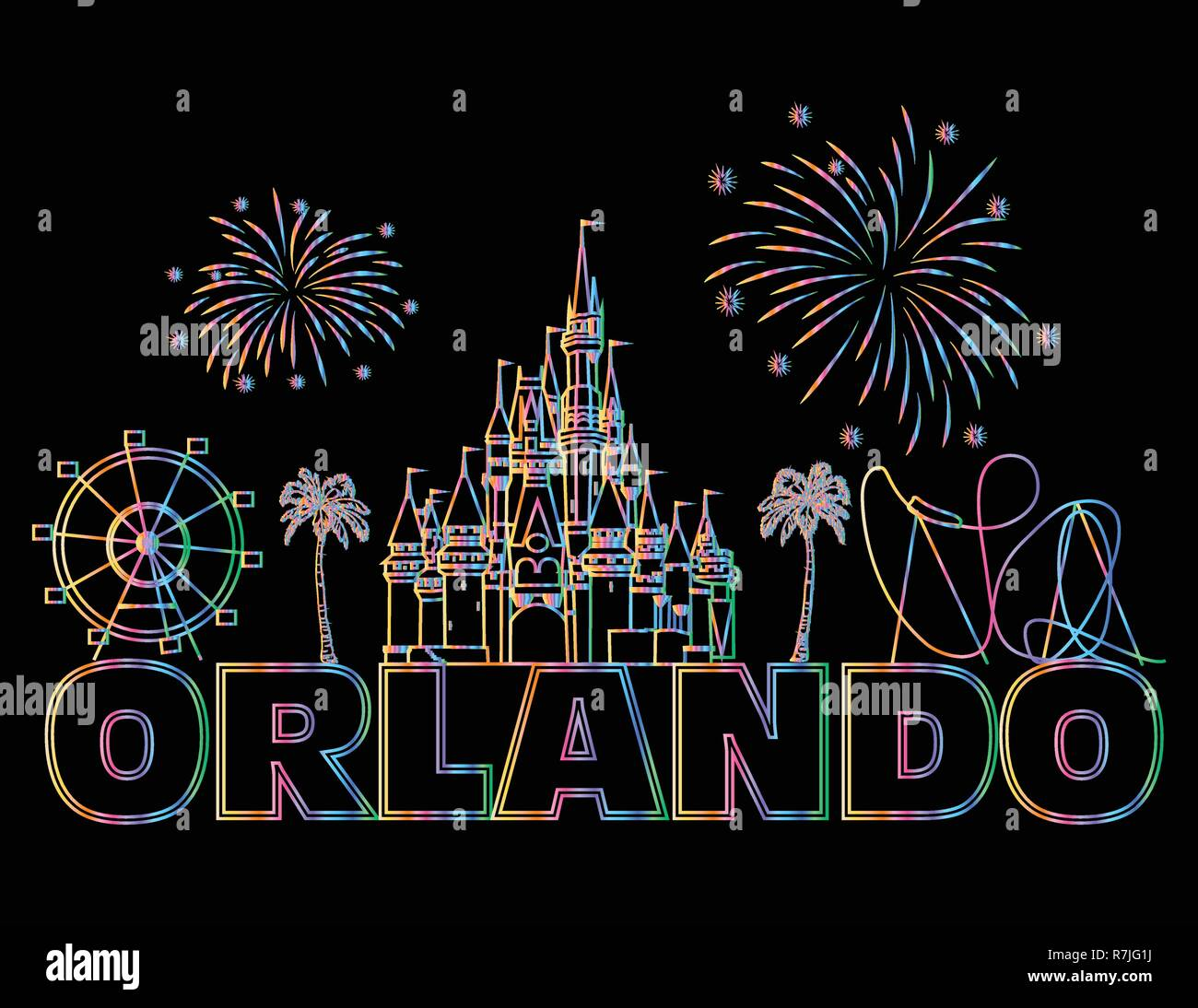 Orlando colorful lettering on black backround .  Vector with travel icons. Travel Postcard. - Stock Vector