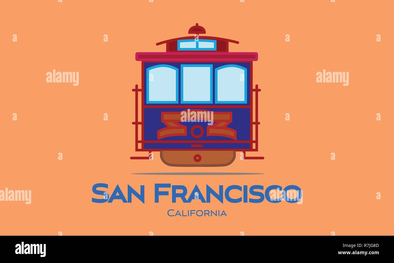 San Francisco blue lettering. Vector with cable car on orange background. Travel Postcard. - Stock Vector