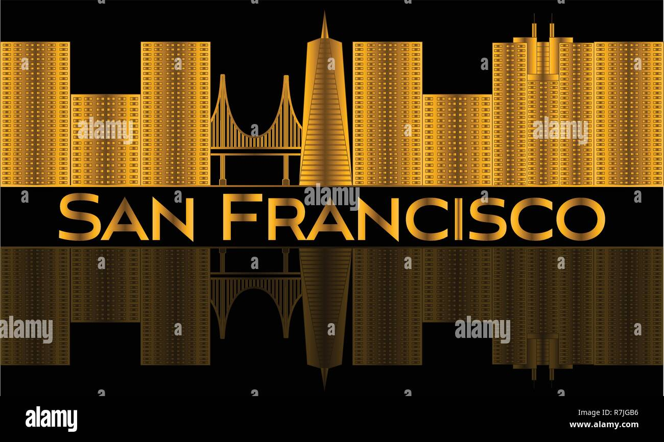 San Francisco gold lettering. Vector with skyscrapers and golden gate bridge . - Stock Vector