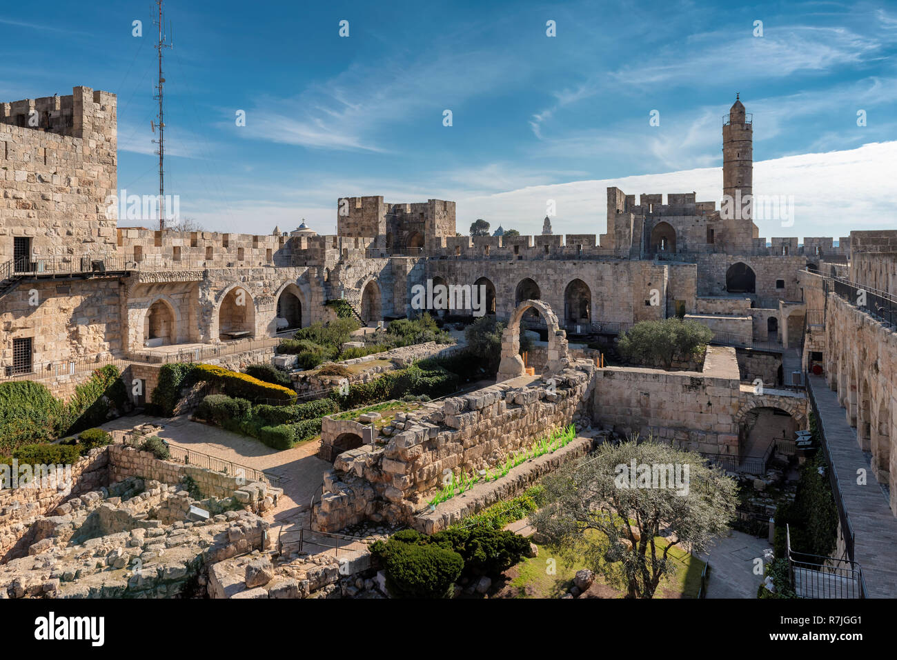 David's tower in old city of Jerusalem, Israel. Stock Photo