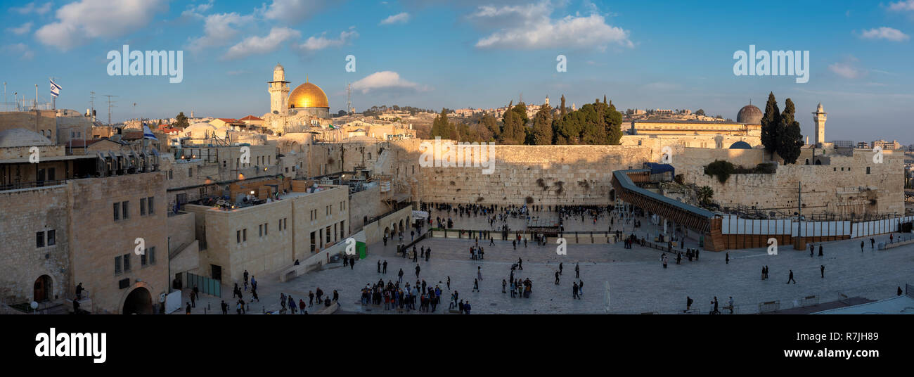 Panoramic view of Western Wall in Jerusalem Old City, Israel. - Stock Image