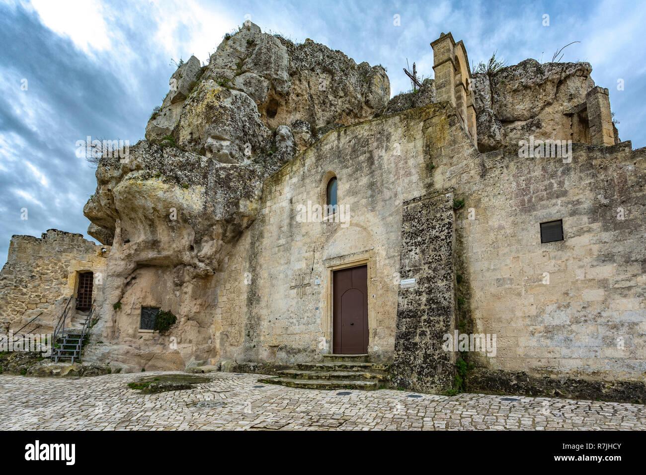 rupestrian church Santa Maria di Idris church, Matera, European Capital of Culture Stock Photo