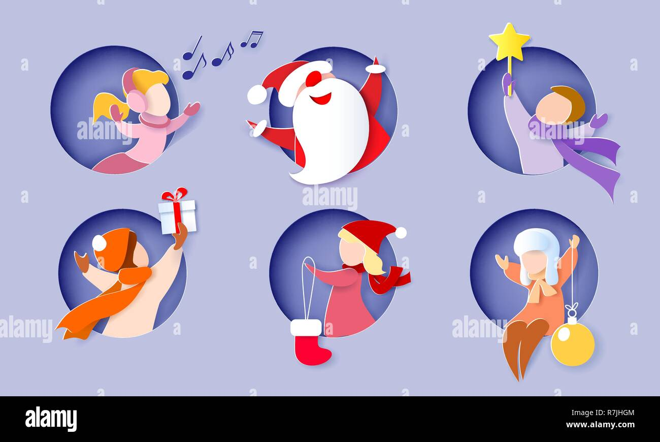 Christmas And New Year Card Children And Santa Claus In Round Hole
