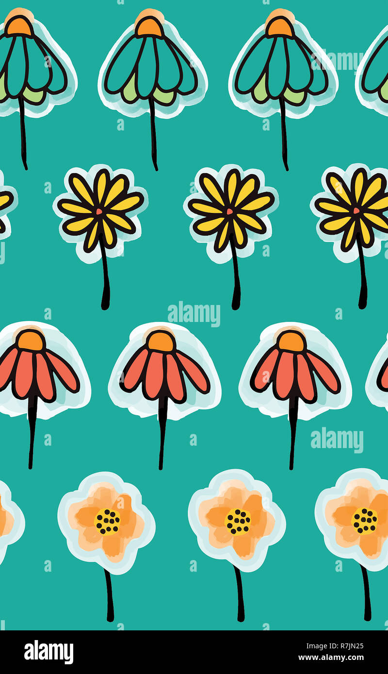 Doodle Flowers Seamless Pattern On A Teal Background