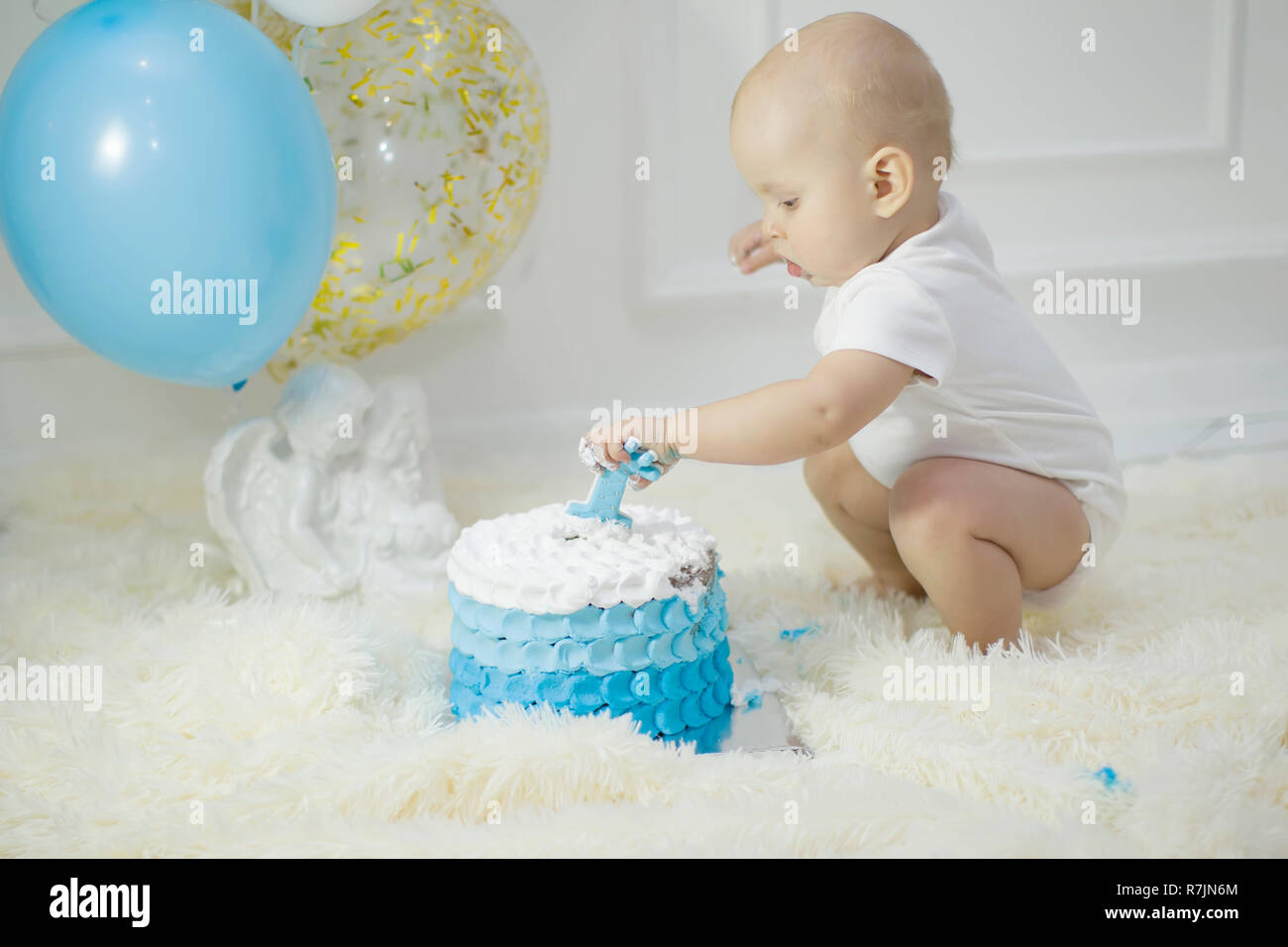 Admirable One Year Old Child With A Birthday Cake First Birthday Stock Funny Birthday Cards Online Elaedamsfinfo