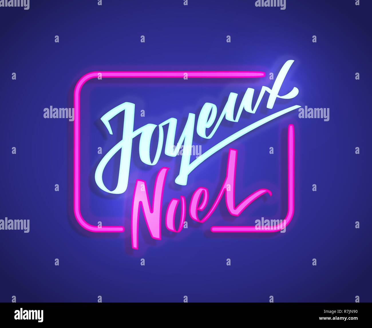Joyeux Noel - Merry Christmas from french hand-written text, typography, hand lettering, calligraphy. Vector neon glow sign, lightning letters on dark background - Stock Image