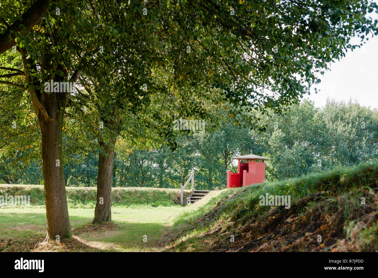 Observation post on a defense wall of historic fortress town of Bourtange, Groningen in Netherlands - Stock Image