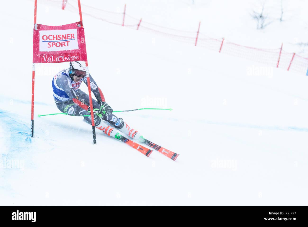 08 Dec. 2018 Henrik Kristoffersen of Norway skiing 1st run Giant Slalom Val d'Isere men's Giant Slalom Audi FIS Alpine Ski world Cup 2019 2nd place - Stock Image