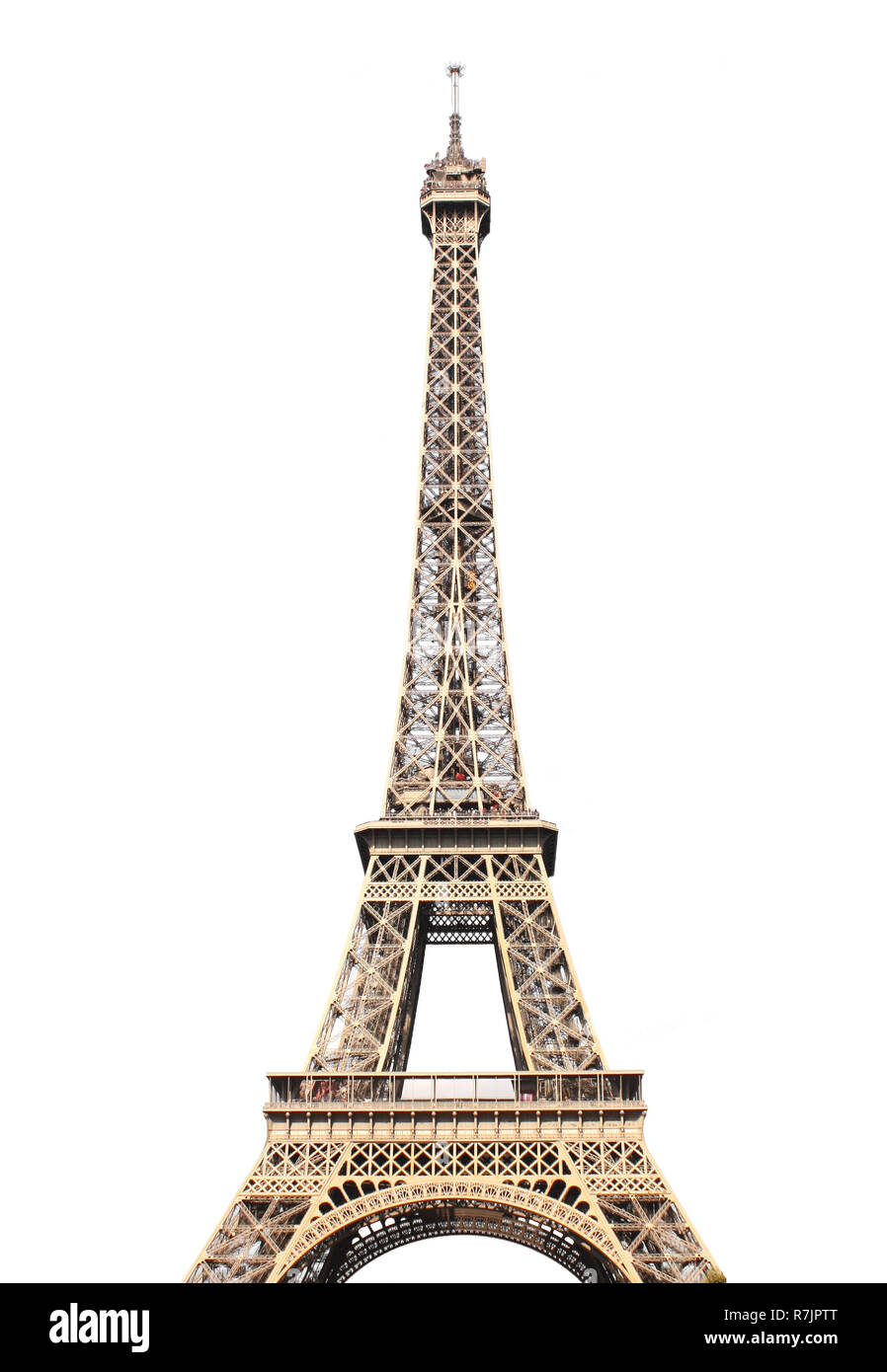Famous Eiffel tower in Paris. Isolated on white background - Stock Image