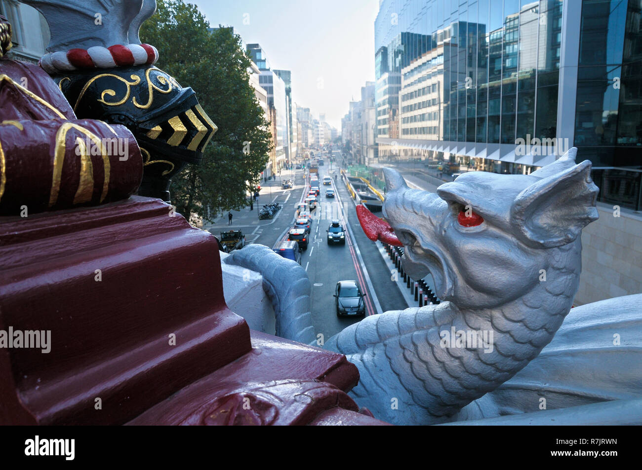 City dragon boundary marker on Holborn Viaduct overlooking Farringdon Street, City of London, England, UK - Stock Image