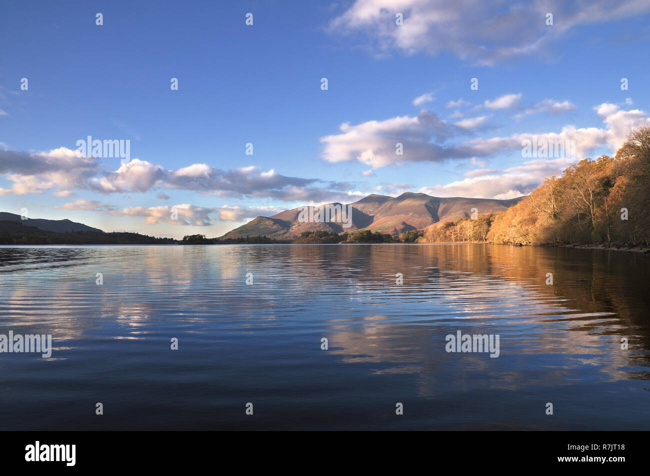 A view of the Skiddaw mountain range from Derwentwater, Lake District, Cumbria, England, UK - Stock Image
