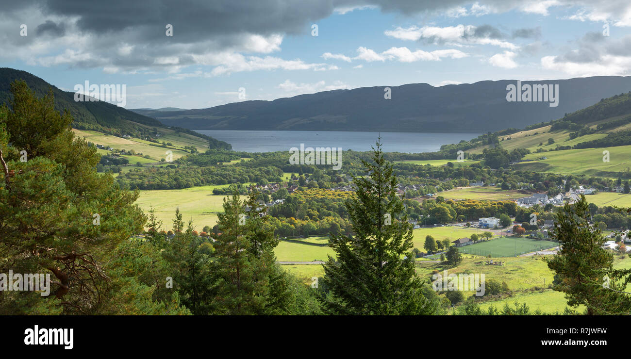 Urquhart Bay and Loch Ness from the Craigmonie Viewpoint above Drumnadrochit, Scotland - Stock Image