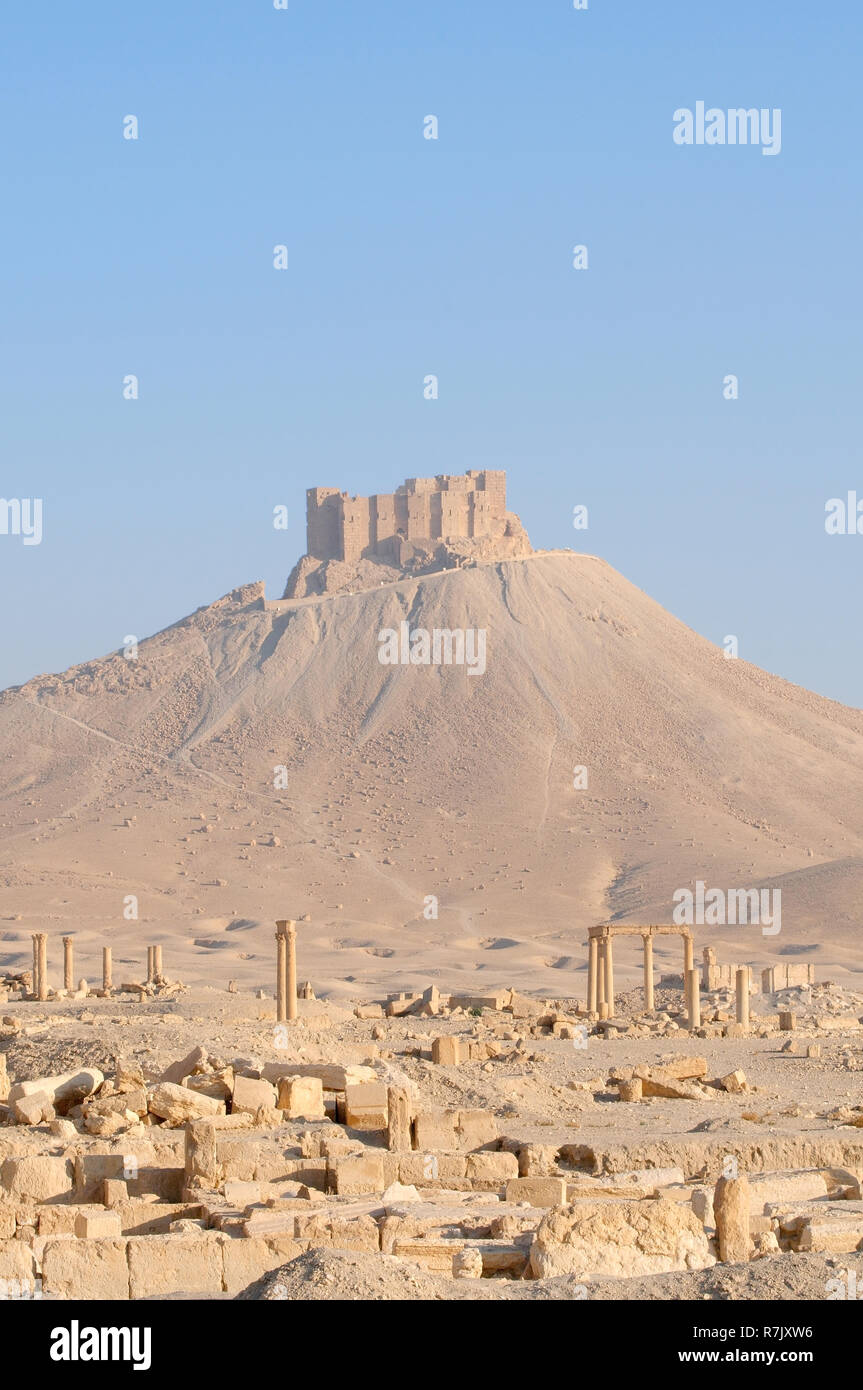 Ruins of the ancient city of Palmyra, Fakhr-al-Din al-Maani Castle castle at the back, Palmyra District, Homs Governorate, Syria - Stock Image