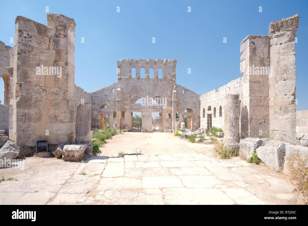 Ruins of the Church of Saint Simeon Stylites, near Aleppo, Syria - Stock Image