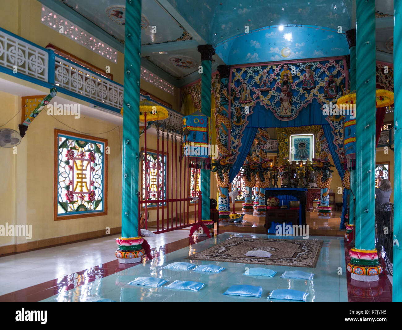 Inside Cao Dai Temple in Cai Be symbolise local unique religion indigenous to Vietnam very ornate temple  Vietnam Asia - Stock Image