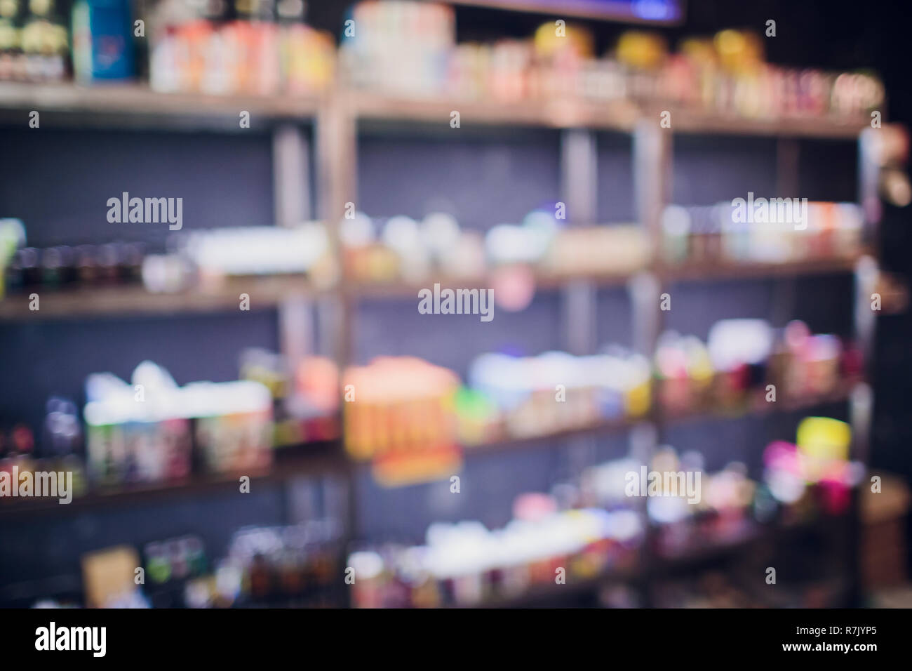 vape shop blurred background - Stock Image