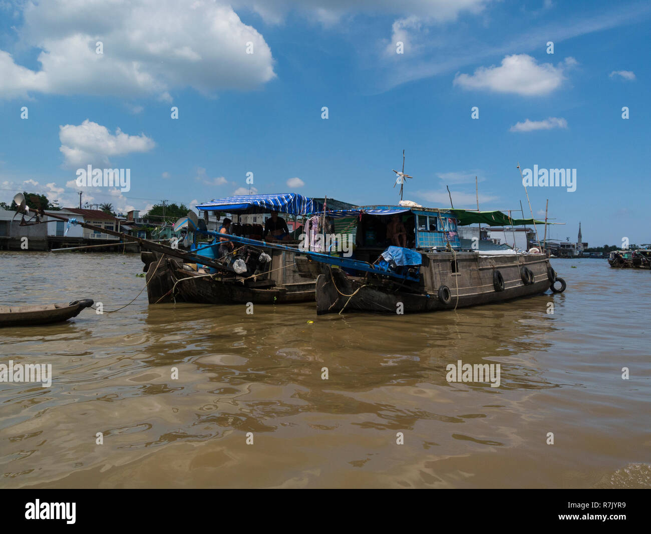 Boats on Mekong River part of famous floating market Cai Be is a river-land mixed town in Vietnam Asia Stock Photo