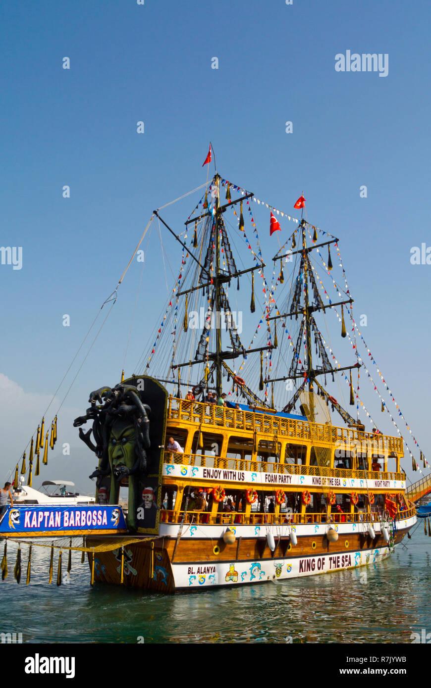 Pirate ship, Alanya, Turkey, Eurasia - Stock Image