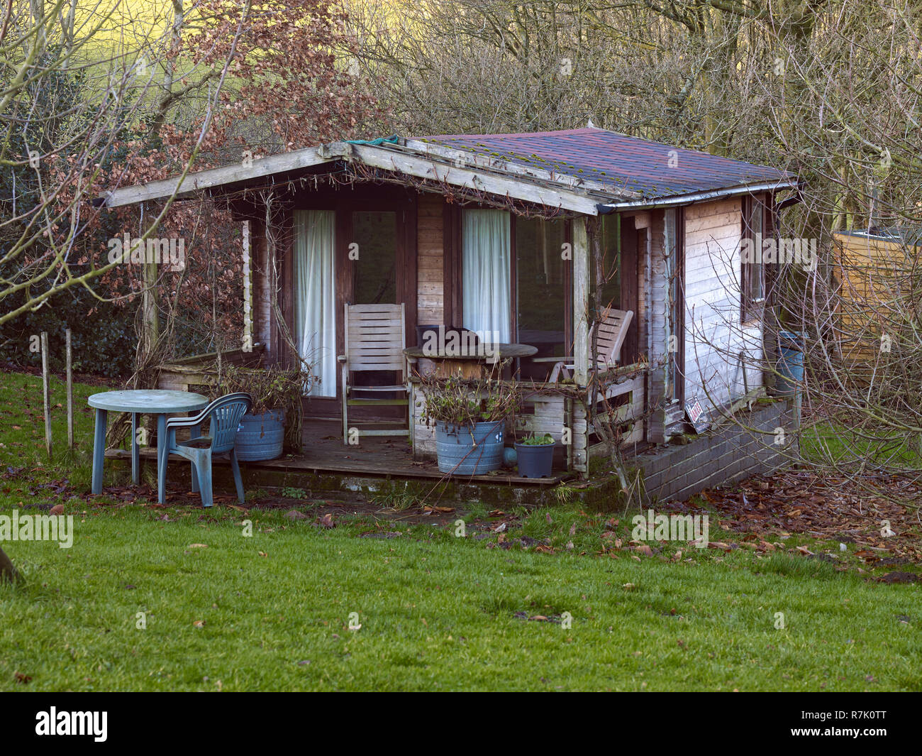 Bewerley, Nidderdale, North Yorkshire, UK. Sunday 09th December, 2018. Smallholding at 900ft, Summerhouse prepares for oncoming winter - Stock Image