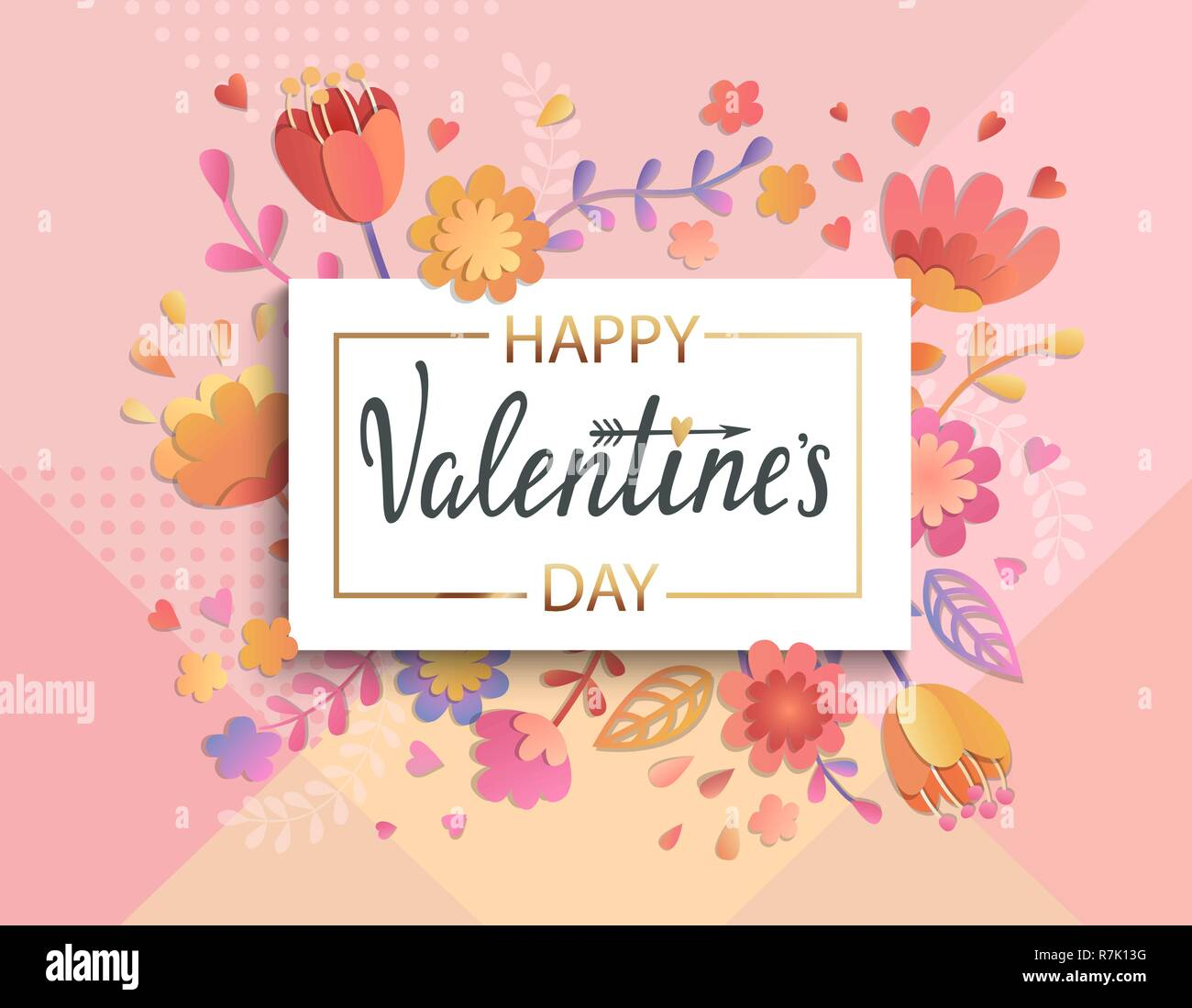 Happy Valentines Day Banner Template With Gold Square Frame On