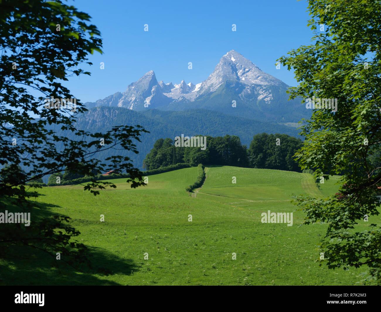 Blick auf den Watzmann, Berchtesgaden, Berchtesgadener Land, Oberbayern, Bayern, Deutschland, Europa |  Mount Watzmann, Berchtesgaden, Berchtesgadener - Stock Image