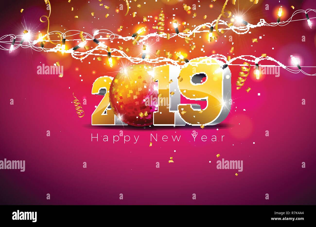 2019 Happy New Year Illustration With 3d Gold Number Disco Ball And