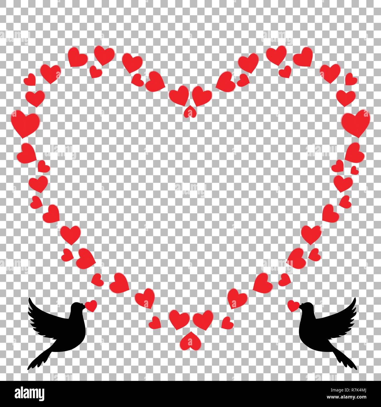 vector red heart shaped retro vintage border photo frame