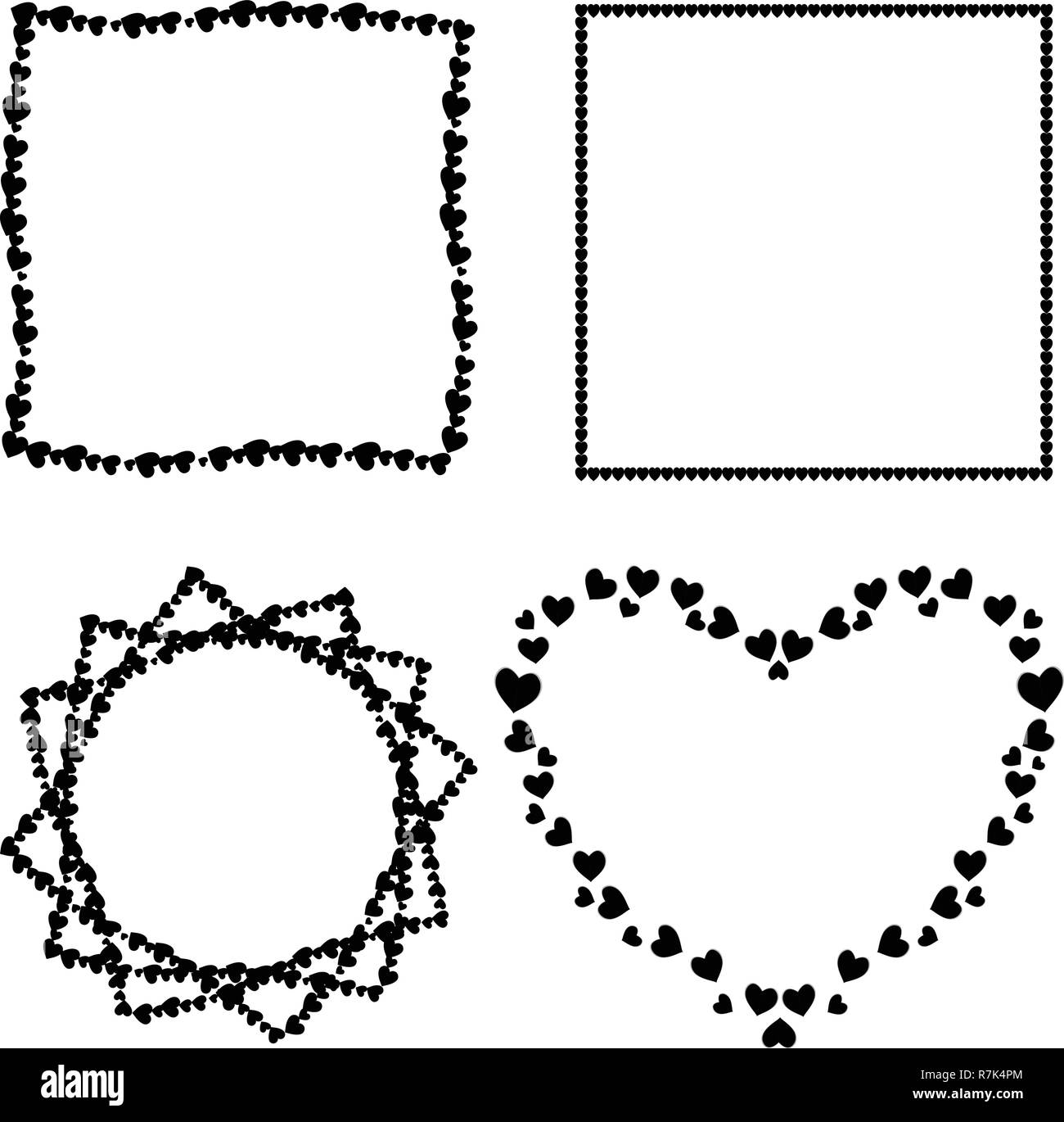 Vector set of cute black love hearts photo frames for valentine, wedding romantic design. Template for greeting card, invitation, collection for scrap - Stock Vector