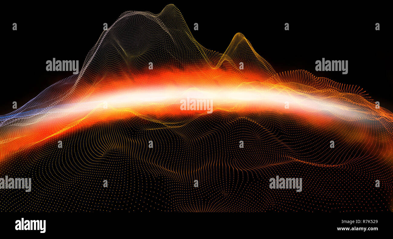 Abstract background with digital mountains of dots and colors. 3d illustration Stock Photo