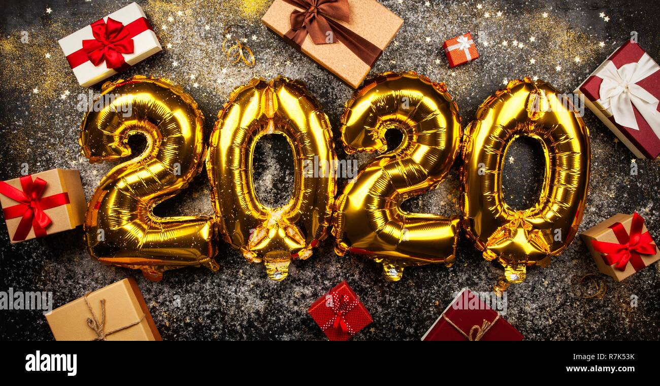 Happy New Year 2020 Glitter Happy New Year 2020 golden baloons Stock Photo: 228458487   Alamy