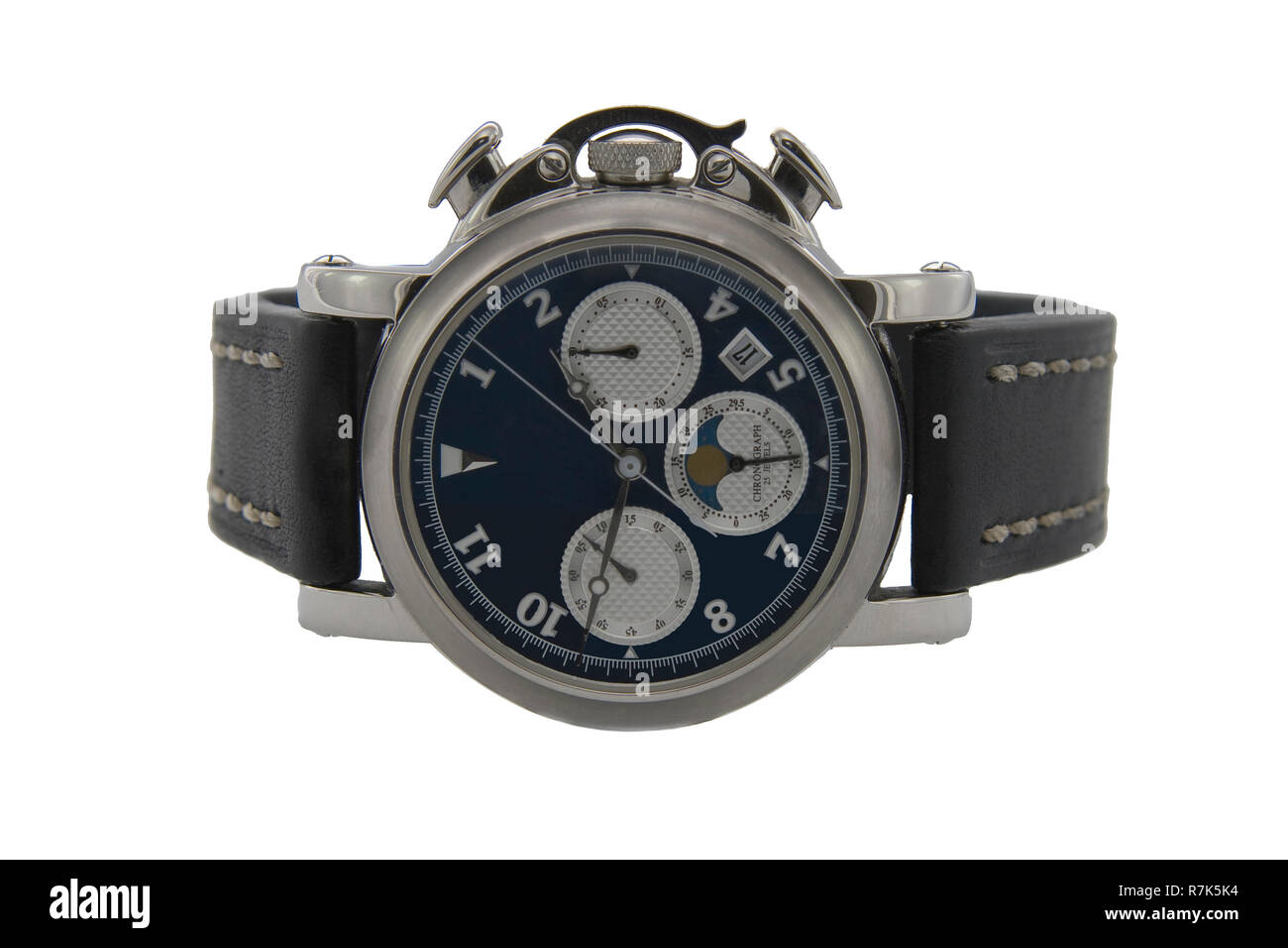 Chronograph watch isolated white background - Stock Image