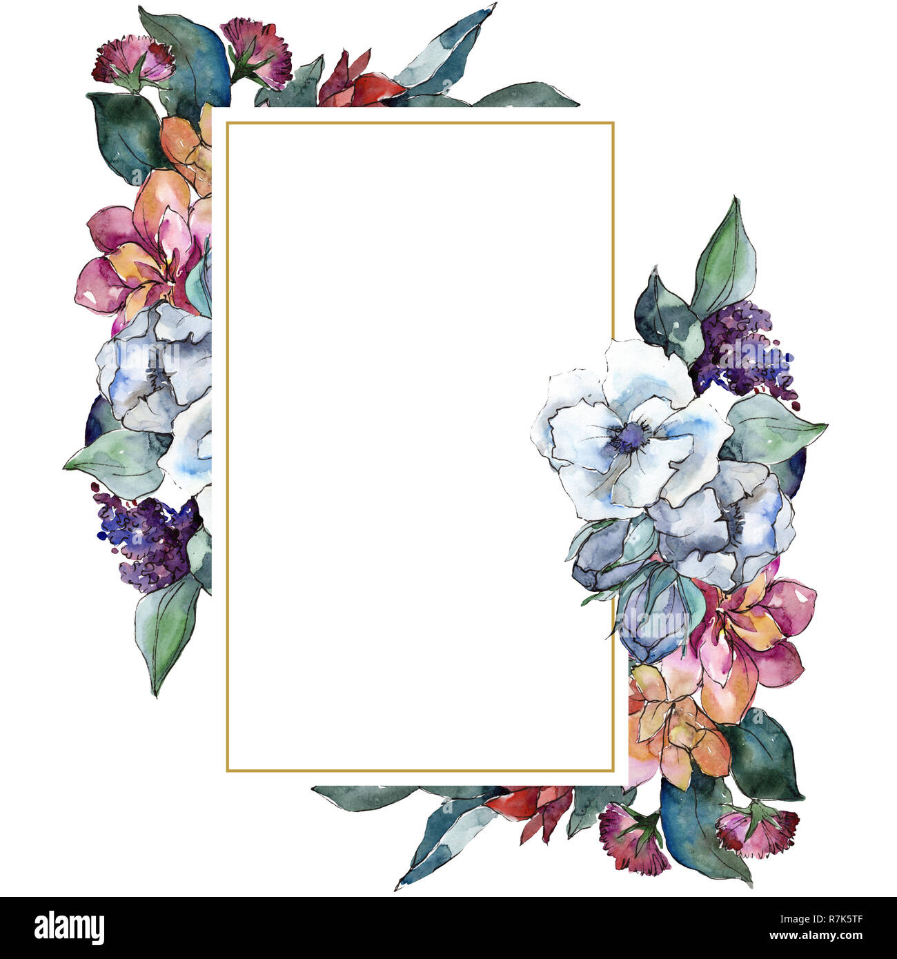 Bouquet Floral Flower Watercolor Background Illustration Set
