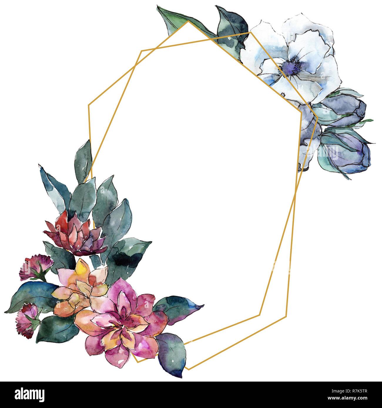 Bouquet Floral Flower Watercolor Background Illustration Set
