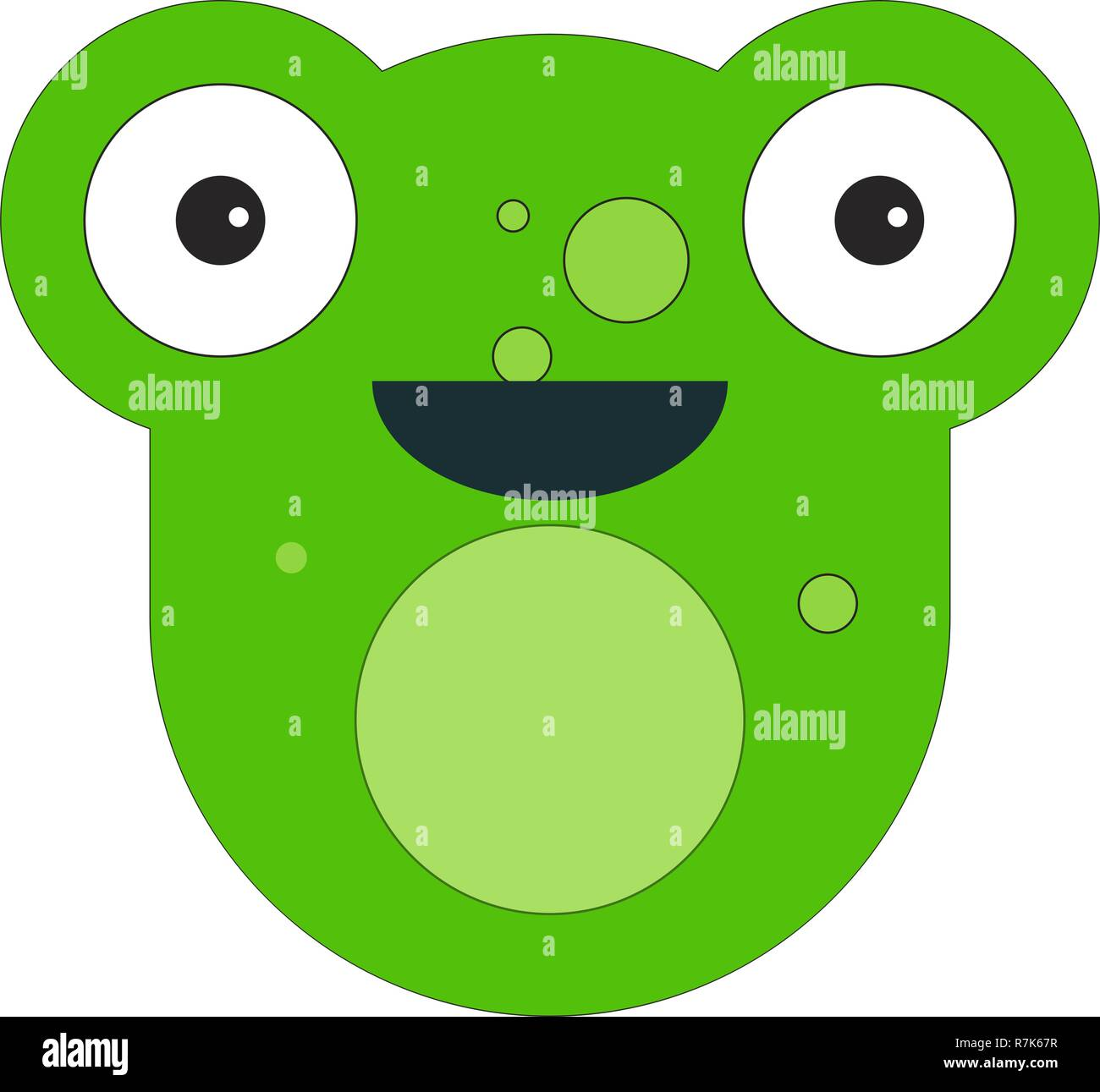 Frog face in cartoon flat style. Vector illustration on white background. - Stock Vector