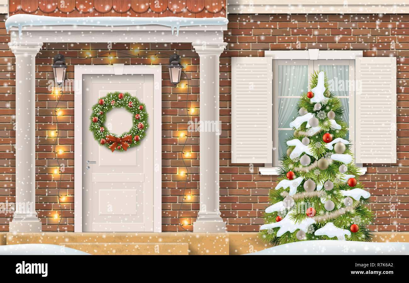 Entrance To The House Decorated With A Garland And Christmas Wreath