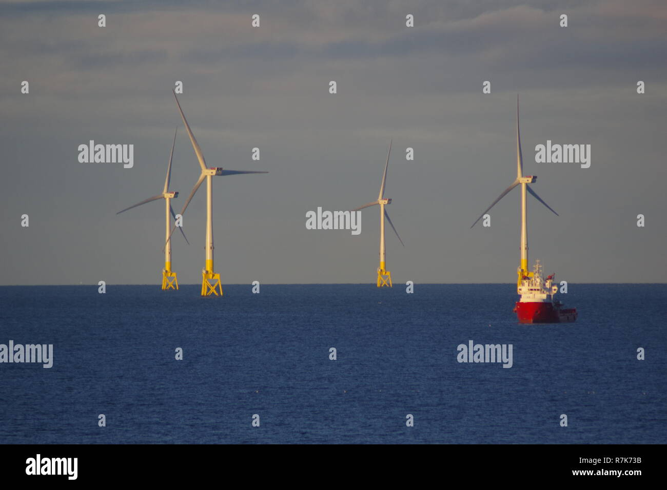European Offshore Wind Deployment Centre. Renewable Energy Wind Farm, offshore Aberdeen in the Golden light of an Autumn Evening. Scotland, UK. - Stock Image