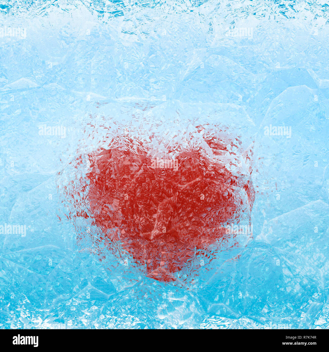Frozen heart in blue white ice - Stock Image