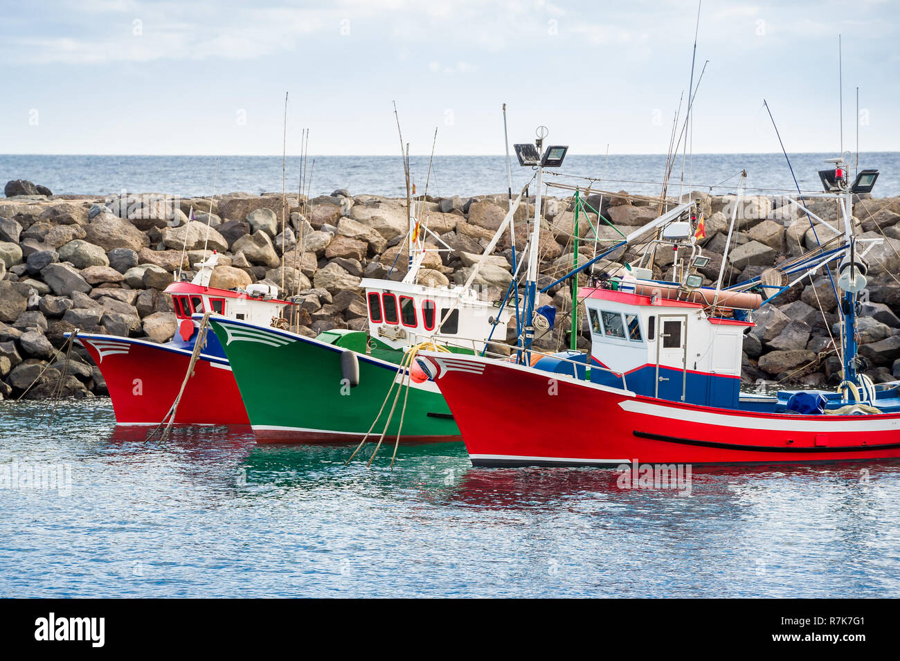 Colorful fishing boats at Canary islands. - Stock Image