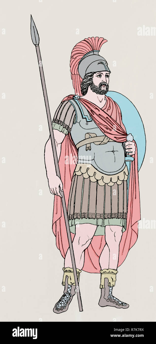 Roman Army. Roman General. Engraving. Color. Imperial era. - Stock Image