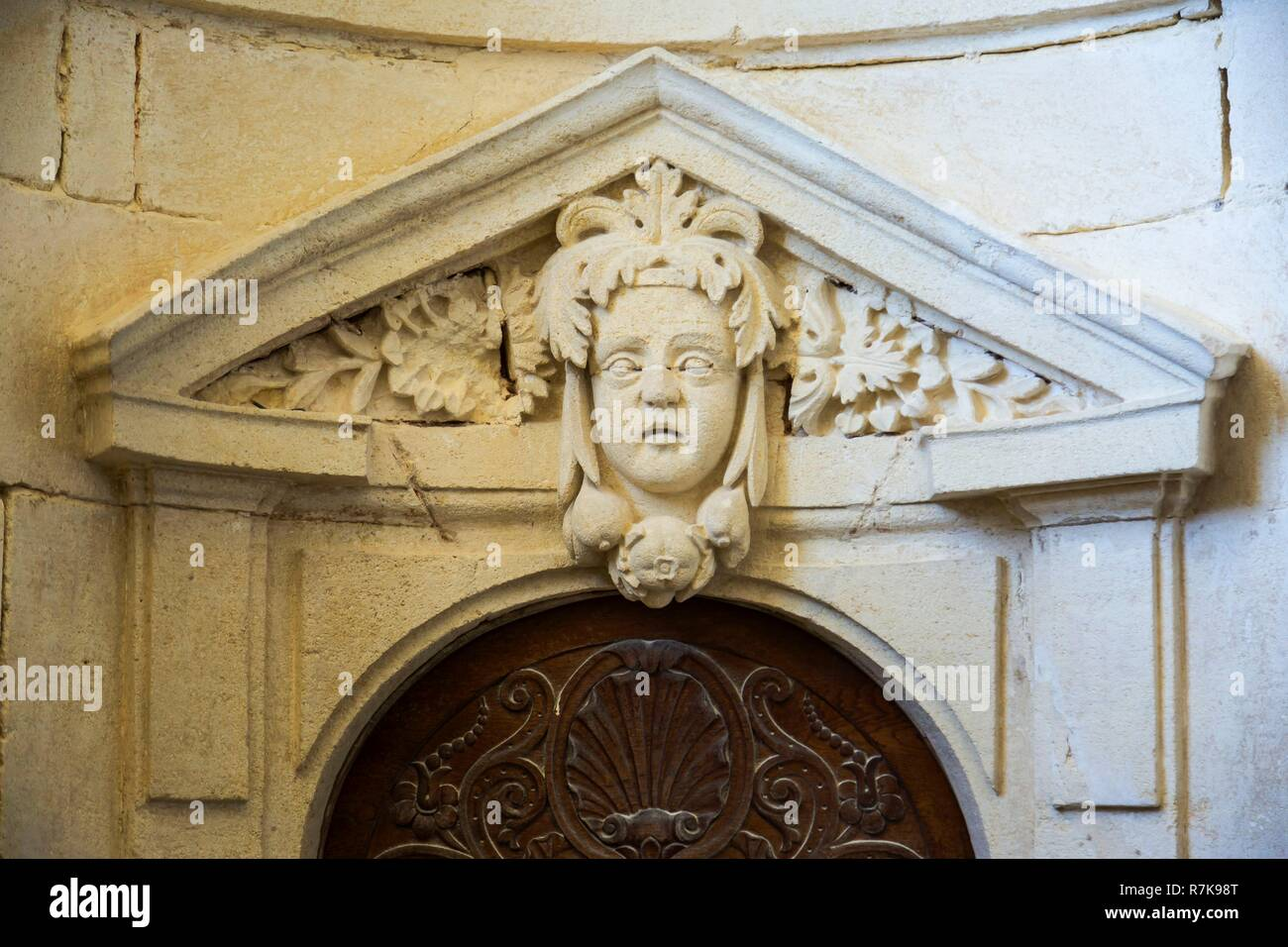 France, Gironde, Verdon sur Mer, rocky plateau of Cordouan, lighthouse of Cordouan, classified Historical Monuments, the King's apartment or kings' room - Stock Image