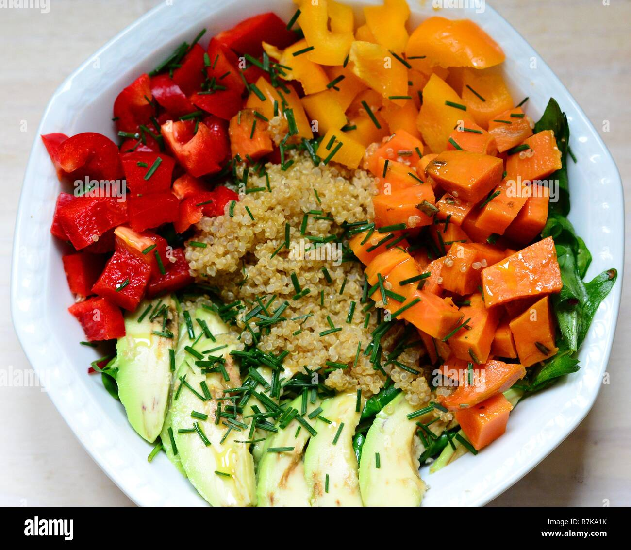 Tasty plant-based healthy and colorful real food - Stock Image