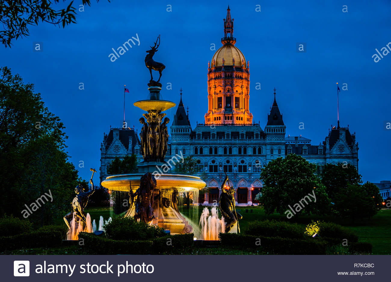 Corning Fountain Connecticut State Capitol _ Hartford, Connecticut, USA - Stock Image