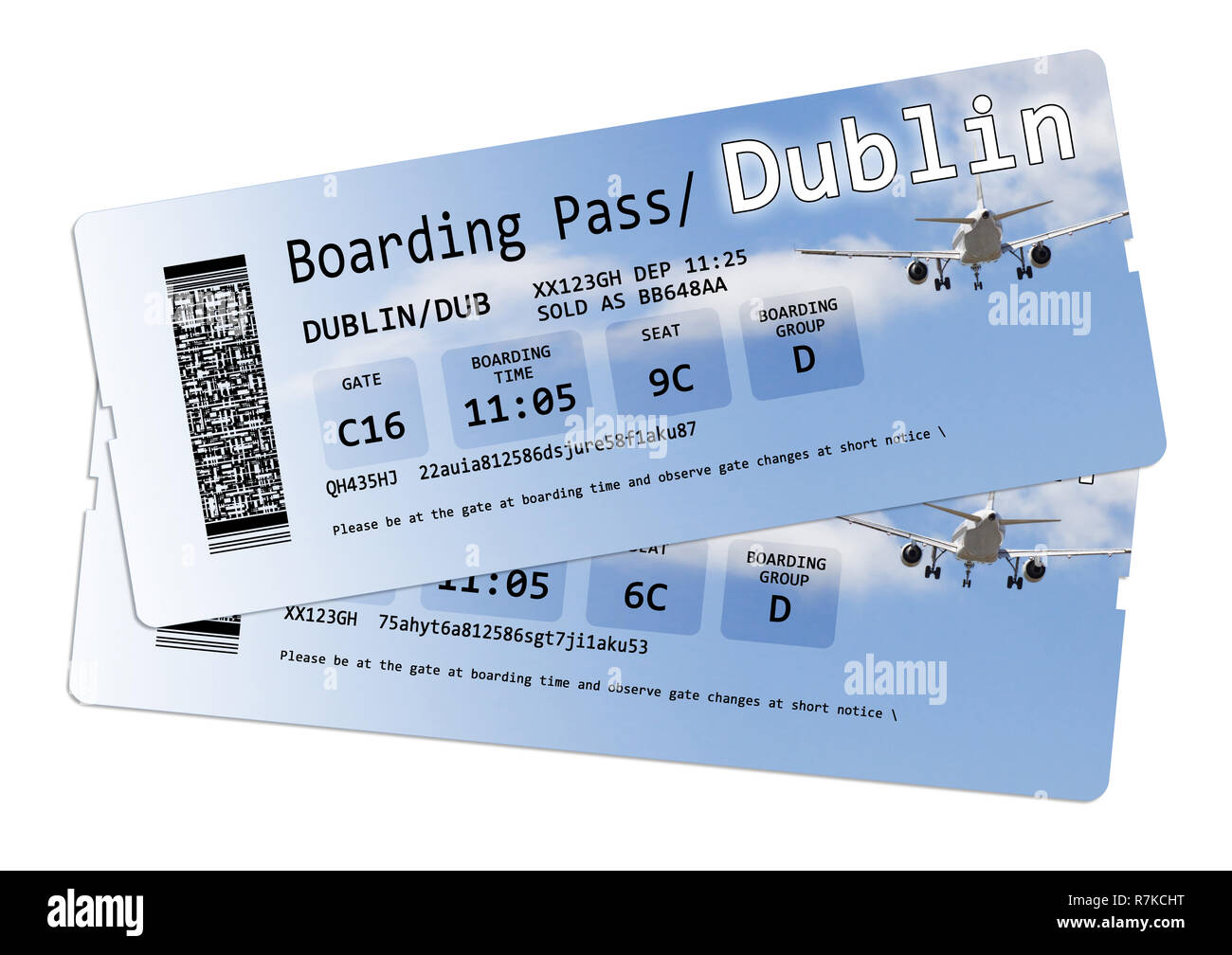 Airline boarding pass tickets to Dublin isolated on white - The contents of the image are totally invented Note for the Ispector: The contents of the  - Stock Image
