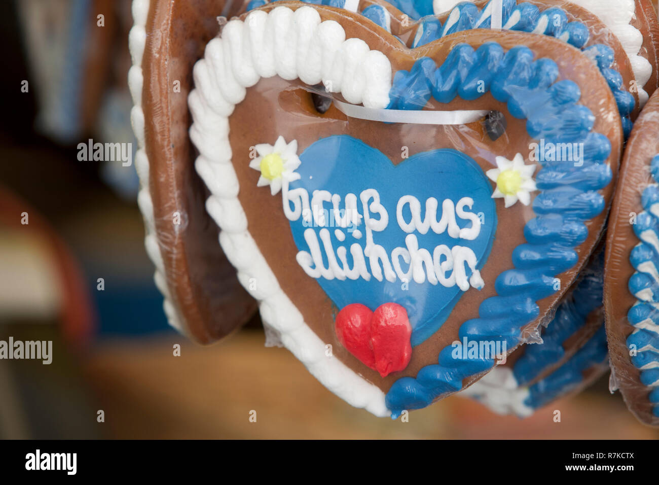 Oktoberfest Style Gingerbread Heart With The Text Gruss Aus Muenchen Greeting From Munich