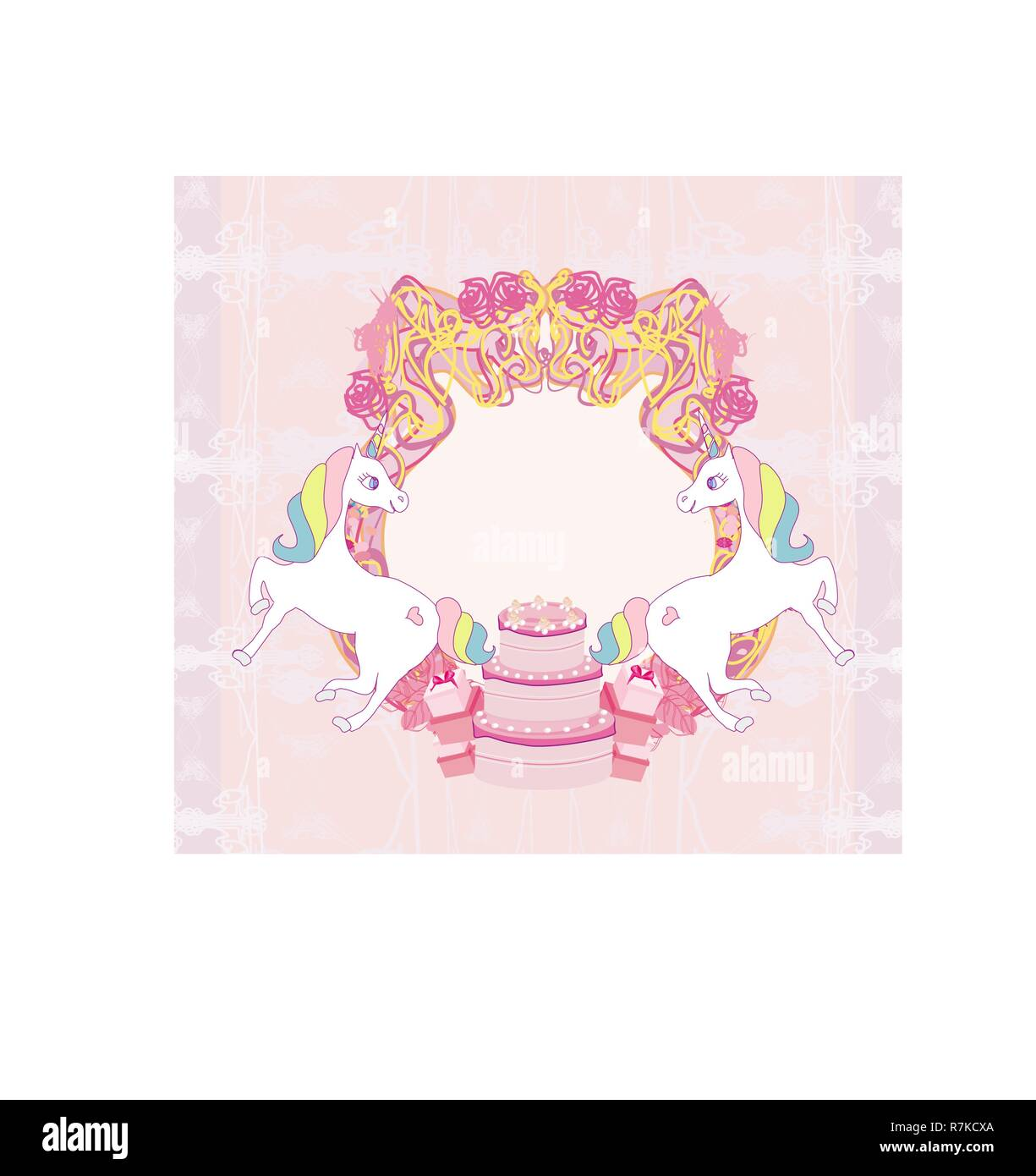 Frame with unicorns and birthday cake Stock Vector Art