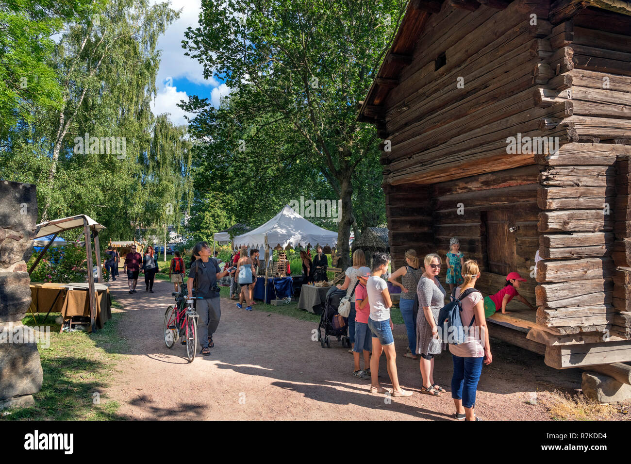Stalls in the grounds of Turku Castle (Turun Linna) during the Medieval Tournament in July 2018, Turku, Finland - Stock Image