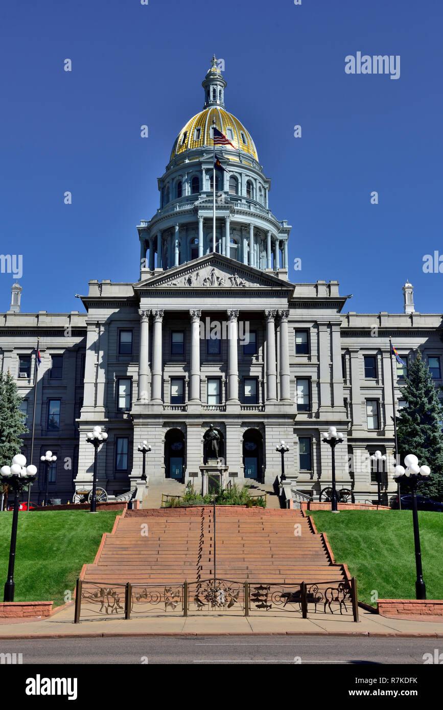 Front entrance Colorado State Capital building, Denver, Colorado, USA Stock Photo