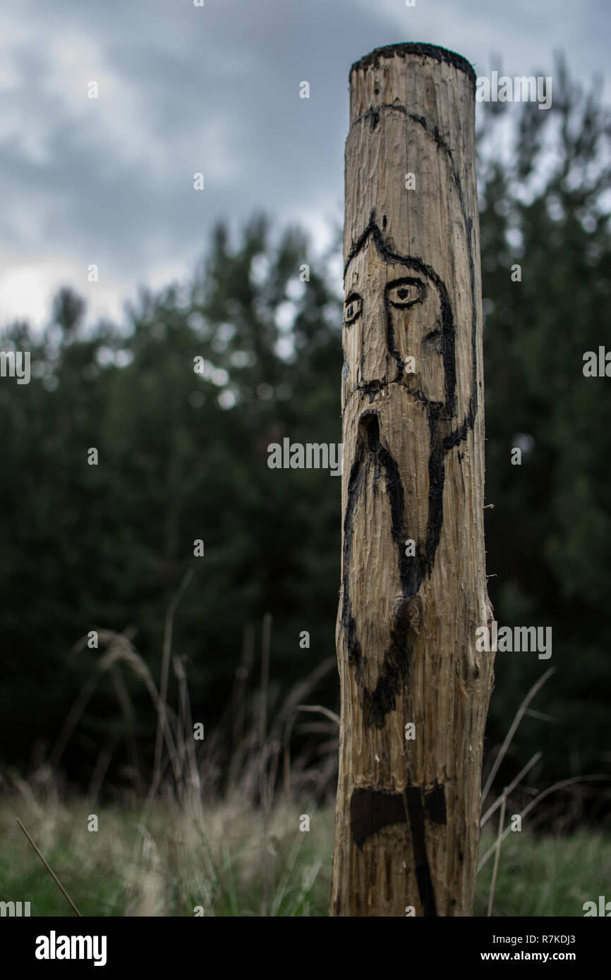 Pagan, slavic idol in the woods. - Stock Image
