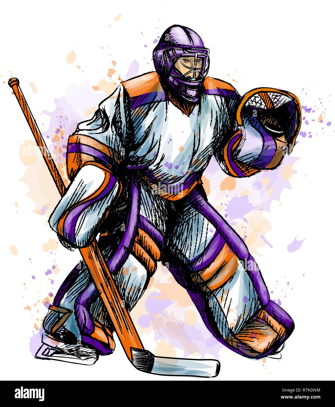 Abstract Hockey Goalkeeper From Splash Of Watercolors Hand Drawn